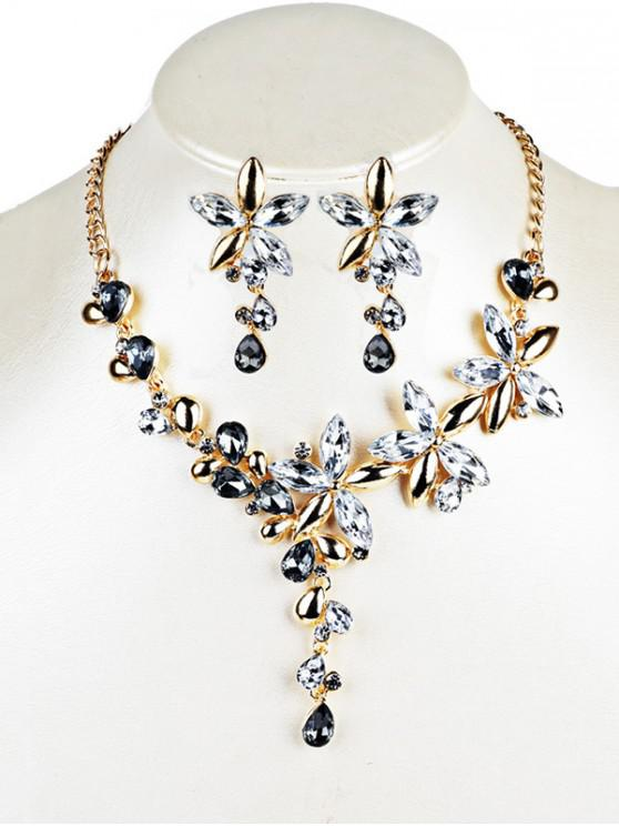 women Crystal Floral Embellished Pendent Necklace Earrings Set - WHITE