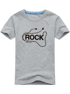Graphic Short Sleeve Rock T-shirt - Gray 2xl