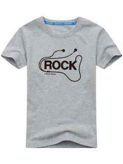 Grafik Kurzarm Rock T-Shirt - Grau L