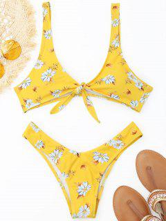 Thong Shaped Front Knotted Bikini Set - Yellow M