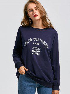 Épaule Drop Sweatshirt Lettre Longline - Bleu Foncé