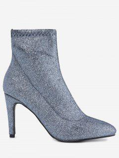 Stiletto Heel Glitter Pointed Toe Boots - Blue 39