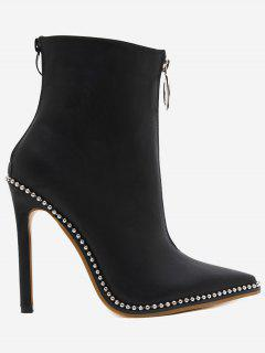 Rivets Pointed Toe Stiletto Heel Boots - Black 36