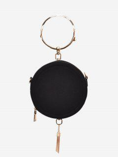 Metal Ring Tassel Handbag - Black