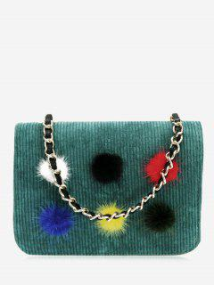 Full Color Pompom Crossbody Bag - Green