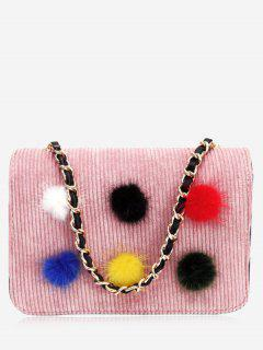 Full Color Pompom Crossbody Bag - Pink