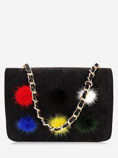 Full Color Pompom Crossbody Bag - Black