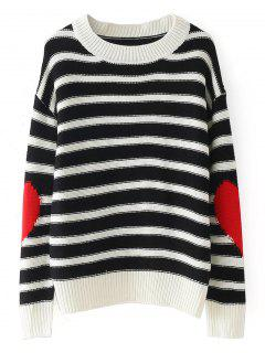 Heart Stripes Pullover Sweater - Stripe