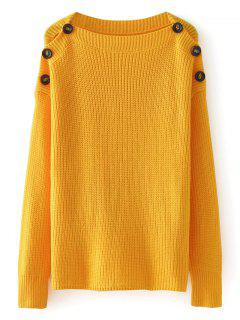 Loose Buttoned Shoulder Pullover Sweater - Mustard