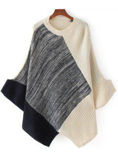 Contrasting Heathered Panel Cape Sweater - Gray
