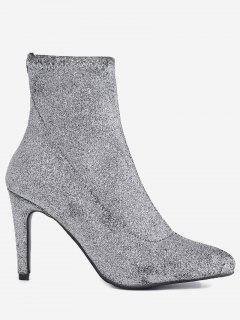 Stiletto Heel Glitter Pointed Toe Boots - Silver 35