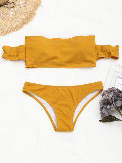 Off The Shoulder Ruffles Bikini Acanalado - Jengibre S