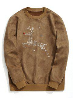 Suede Christmas Reindeer Sweatshirt - Brown Xl