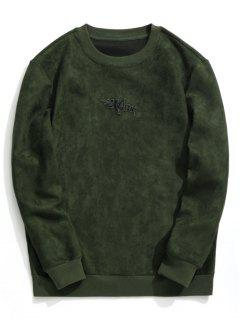 Shark Embroidered Suede Sweatshirt - Army Green M
