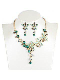 Crystal Floral Embellished Pendent Necklace Earrings Set - Green