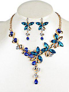 Crystal Floral Embellished Pendent Necklace Earrings Set - Blue