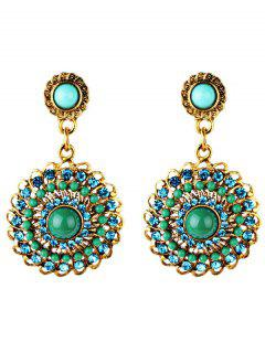 Rhinestone Floral Embellished Boho Style Earrings - Green