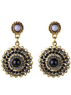 Rhinestone Floral Embellished Boho Style Earrings - Black