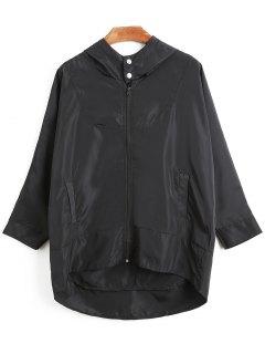 Oversized Hooded Windbreaker - Black L