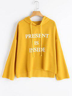 Drop Shoulder Drawstring Letter Hoodie - Mustard S
