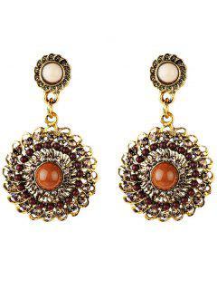 Rhinestone Floral Embellished Boho Style Earrings - Brown