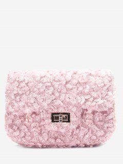 Hasp Faux Fur Chain Crossbody Bag - Pink