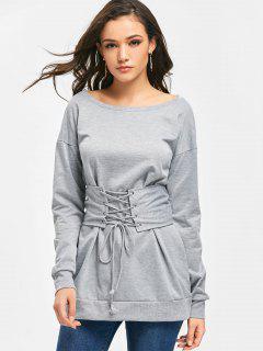 Sweat-shirt à Lacets Long Corset - Gris S