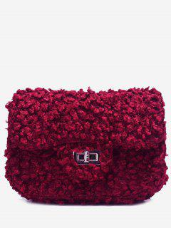 Hasp Faux Fur Chain Crossbody Bag - Red