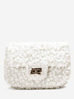 Hasp Faux Fur Chain Crossbody Bag - White
