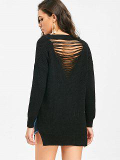 V Neck Side Slit Destroyed Sweater - Black