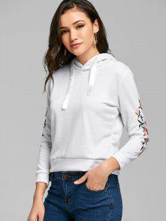 Drawstring Embroidered Sleeve Hoodie - White S
