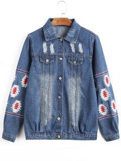 Frayed Embroidered Distressed Denim Jacket - Denim Blue S