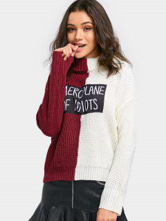 Letter Applique Color Block Turtleneck Sweater - Burgundy