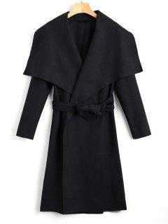 Shawl Collar Belted Coat - Black M