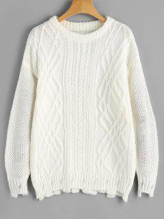 Einfacher Pullover Mit Kabelstrick Und Drop Schulter  - Weiß