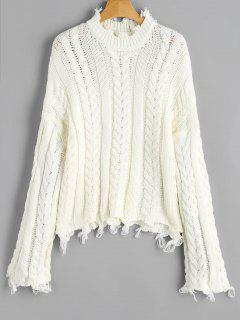Frayed Hem Cable Knit Sweater - Off-white
