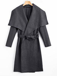 Shawl Collar Belted Coat - Deep Gray Xl