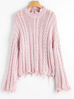 Pullover Mit Ausgefranstem Saum Und Kabelstrick  - Pink
