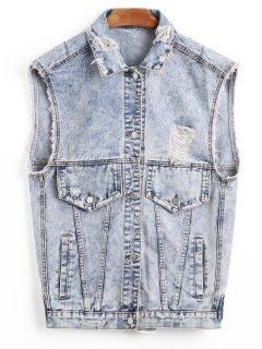Distressed Denim Waistcoat - Light Blue