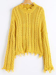 Frayed Hem Cable Knit Sweater - Mustard