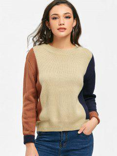 Ribbed Hem Color Block Pullover Sweater - Light Apricot