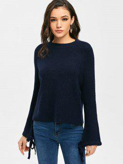 Raglan Sleeve Bow Tied Pullover Sweater - Purplish Blue