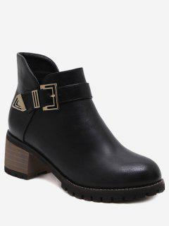 Stacked Heel Buckled Side Zip Ankle Boots - Black 36