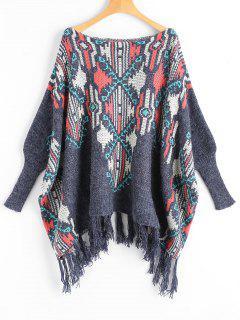 Dolman Sleeve Tassels Graphic Sweater - Multi