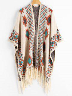 Geometric Graphic Tassels Capelet Cardigan - Light Apricot
