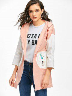 Zip Up Hooded Letter Cartoon Coat - Pink M