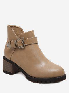 Stacked Heel Buckled Side Zip Ankle Boots - Apricot 35