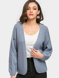 Cable Knit Chunky Cardigan - Blue Gray