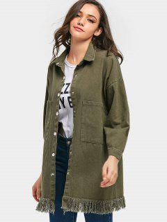 Snap-button Fringe Denim Coat - Army Green
