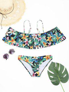 Overlay Floral Ruffles Ensemble De Bikini - Floral S